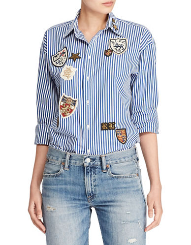 Polo Ralph Lauren Patchwork Boyfriend Shirt-BLUE-2