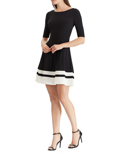 Chaps Two-Tone Jersey Dress-BLACK-Small