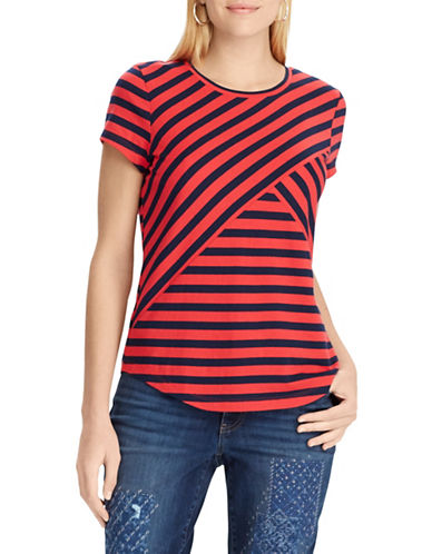 Chaps Striped Jersey Top-RED-X-Small
