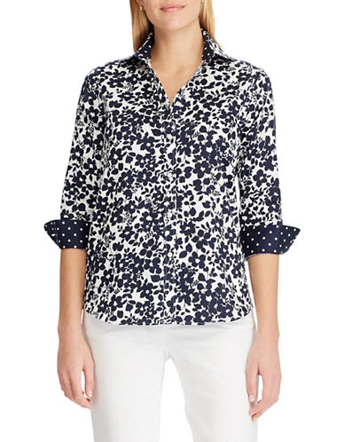Chaps No-Iron Floral Cotton Shirt-NAVY-X-Small