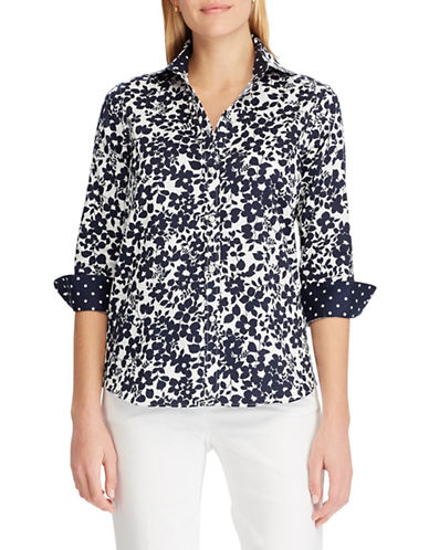 Chaps Petite No-Iron Floral Cotton Shirt-NAVY-Petite Medium