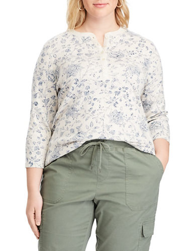 Chaps Plus Floral Henley Shirt-BEIGE-1X