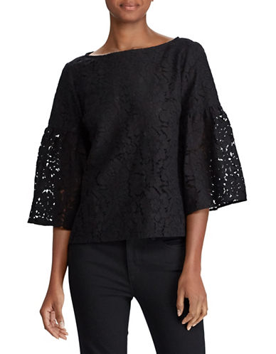 Lauren Ralph Lauren Petite Lace Boat Neck Top-BLACK-Petite Small