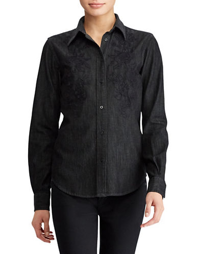 Lauren Ralph Lauren Petite Floral Denim Button-Down Shirt-BLACK-Petite Small