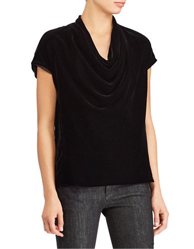 Lauren Ralph Lauren Petite Velvet Cowl Neck Top-BLACK-Petite Medium