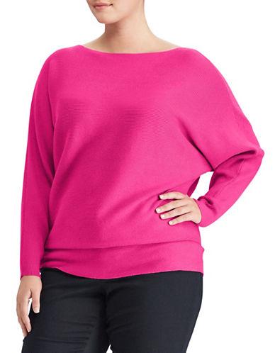 Lauren Ralph Lauren Plus Ribbed Dolman-Sleeve Sweater-PINK-1X