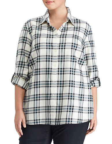 Lauren Ralph Lauren Plus Plaid Cotton Twill Button-Down Shirt-WHITE MULTI-1X