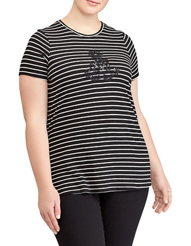 Lauren Ralph Lauren Plus Logo Striped Tee-BLACK MULTI-1X