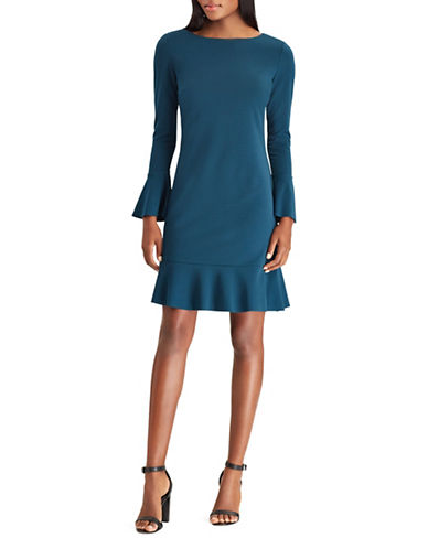 Chaps Bell Sleeve Fit-and-Flare Dress-BLUE-8