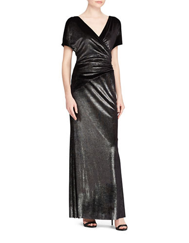 Lauren Ralph Lauren Metallic Velvet Floor-Length Gown-BLACK/SILVER-12