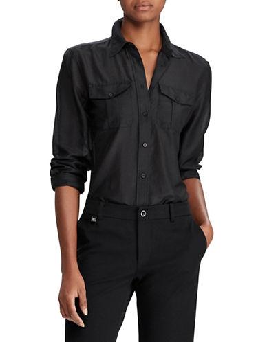 Lauren Ralph Lauren Cotton and Silk Voile Shirt-BLACK-X-Large