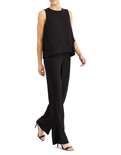 Lauren Ralph Lauren Crepe Overlay Wide-Leg Jumpsuit-BLACK-16