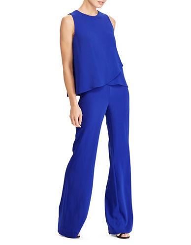 Lauren Ralph Lauren Crepe Overlay Wide-Leg Jumpsuit-BLUE-2
