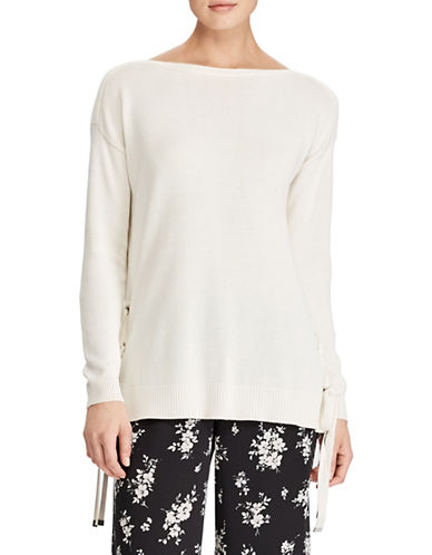 Lauren Ralph Lauren Lace-Up Boatneck Sweater-NATURAL-Small
