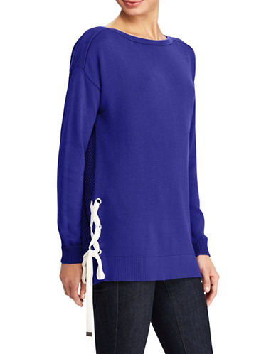 Lauren Ralph Lauren Lace-Up Boatneck Sweater-BLUE-X-Small