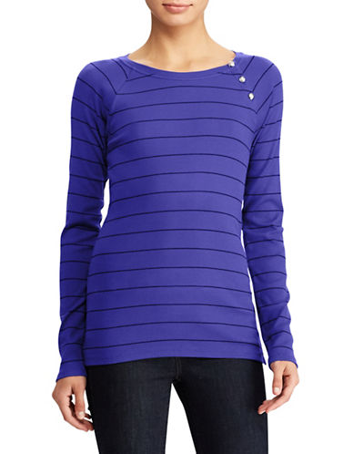 Lauren Ralph Lauren Striped Knit Top-BLUE-Large