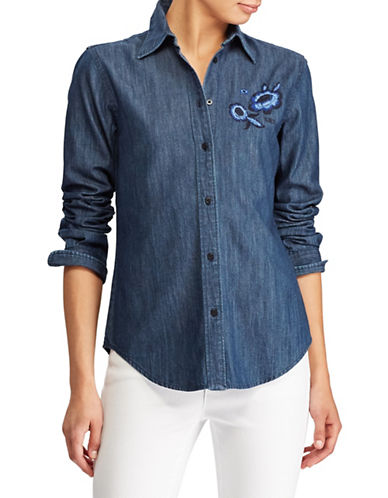 Lauren Ralph Lauren Floral Embroidered Denim Button-Down Shirt-BLUE-X-Large