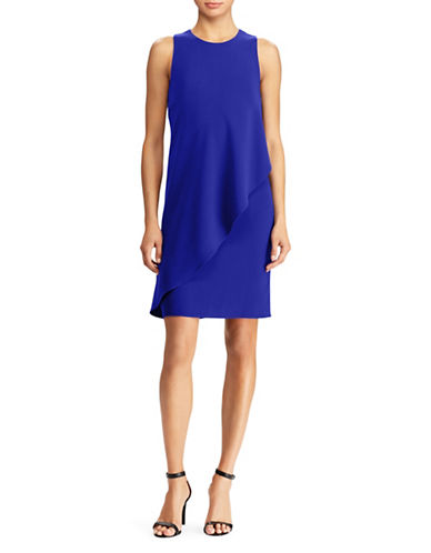 Lauren Ralph Lauren Crepe Overlay Shift Dress-BLUE-10