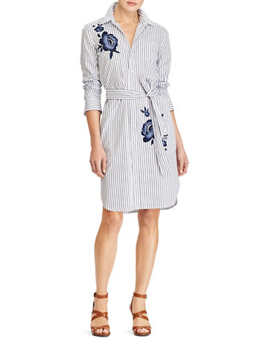 Lauren Ralph Lauren Embroidered Striped Cotton Shirtdress-BLUE-8