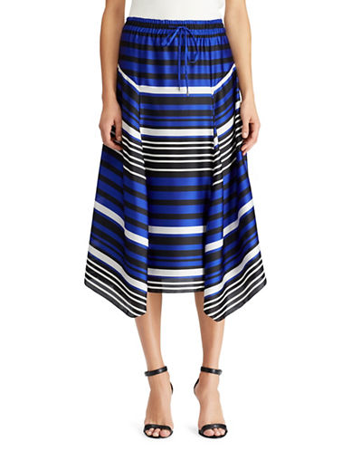 Lauren Ralph Lauren Striped Satin A-Line Skirt-MULTI-X-Large