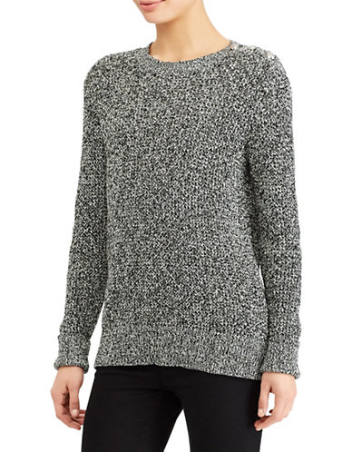 Lauren Ralph Lauren Marled Cotton Sweater-GREY-X-Small