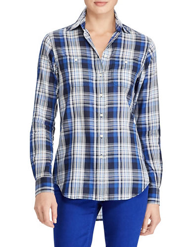 Lauren Ralph Lauren Petite Plaid Twill Cotton Button-Down Shirt-BLUE-Petite Small