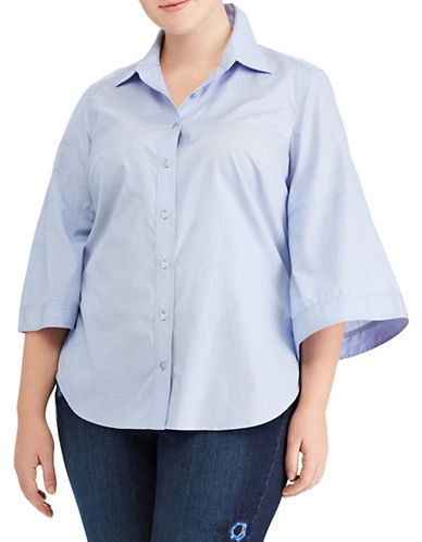 Lauren Ralph Lauren Plus Bell-Sleeve Button-Down Shirt-BLUE-1X
