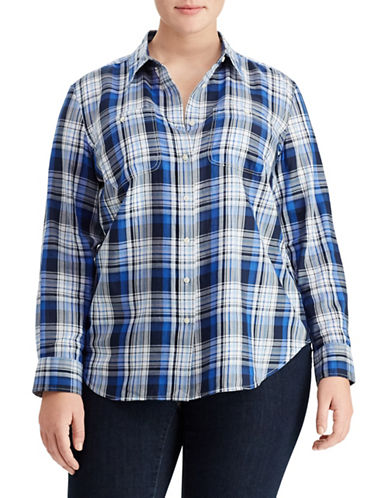Lauren Ralph Lauren Plus Plaid Button-Down Shirt-NAVY-3X
