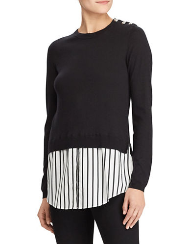 Lauren Ralph Lauren Petite Layered Long Sleeve Sweater-BLACK-Petite X-Small