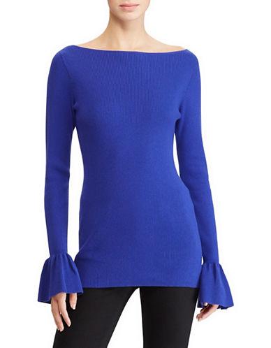 Lauren Ralph Lauren Petite Bell Cuff Rib Sweater-BLUE-Petite X-Small