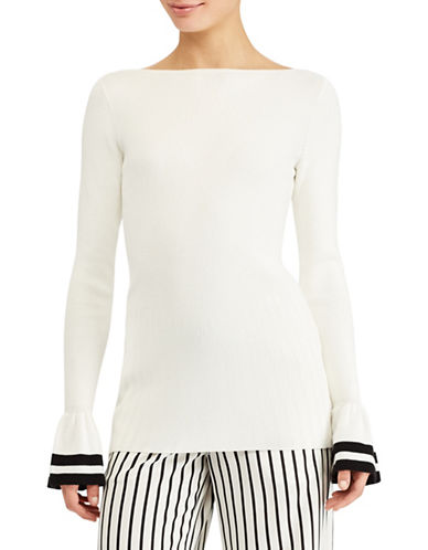 Lauren Ralph Lauren Petite Striped-Cuff Ribbed Sweater-MASCARPONE-Petite Small