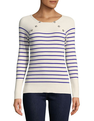 Lauren Ralph Lauren Petite Striped Crew Neck Sweater-NATURAL-Petite Large