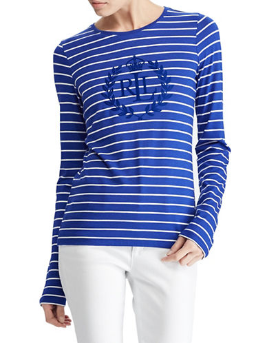 Lauren Ralph Lauren Petite Studded Striped Long-Sleeve Tee-BLUE-Petite Medium