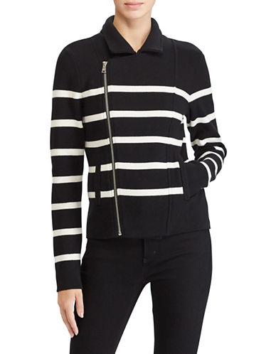Lauren Ralph Lauren Petite Striped Moto Jacket-BLACK-Petite Large