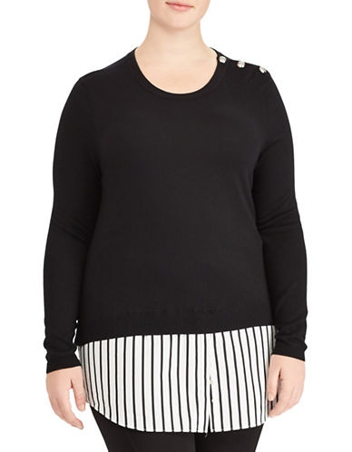 Lauren Ralph Lauren Plus Layered Sweater-BLACK-1X