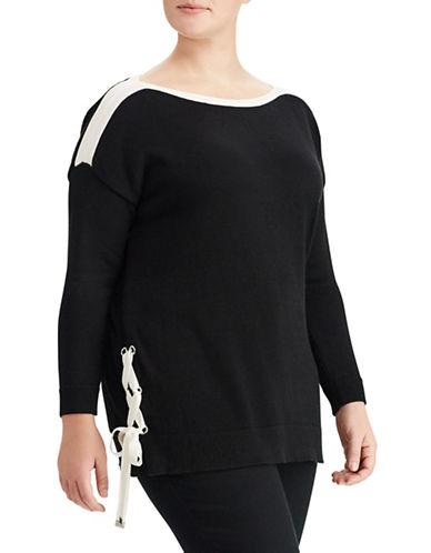 Lauren Ralph Lauren Plus Lace-Up Boat Neck Sweater-BLACK-3X