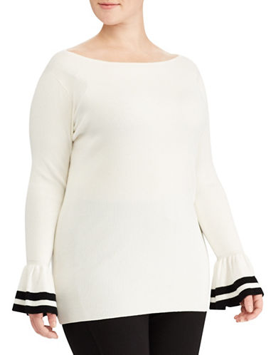 Lauren Ralph Lauren Plus Striped-Cuff Sweater-WHITE-3X