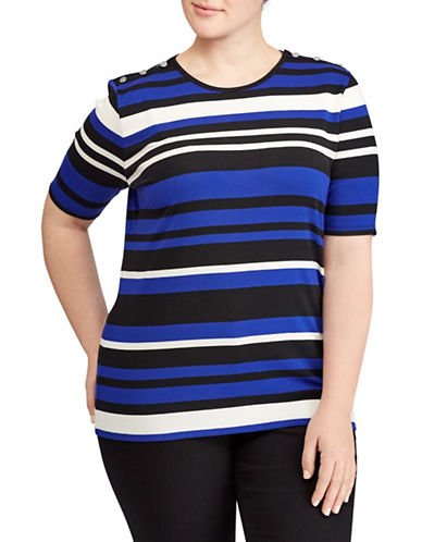 Lauren Ralph Lauren Plus Striped Stretch Crew Neck Top-ASSORTED-2X