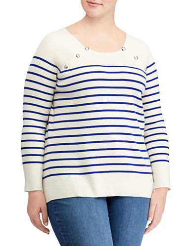 Lauren Ralph Lauren Plus Striped Crew Neck Raglan Sweater-NATURAL-3X