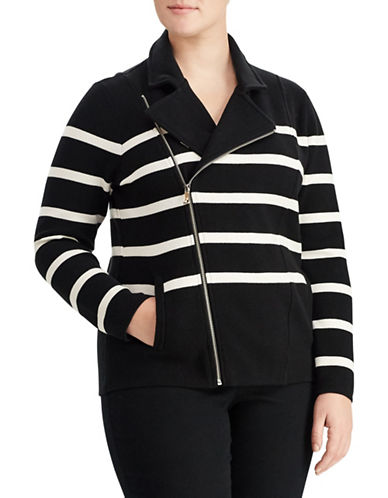 Lauren Ralph Lauren Plus Striped Moto Jacket-BLACK-2X