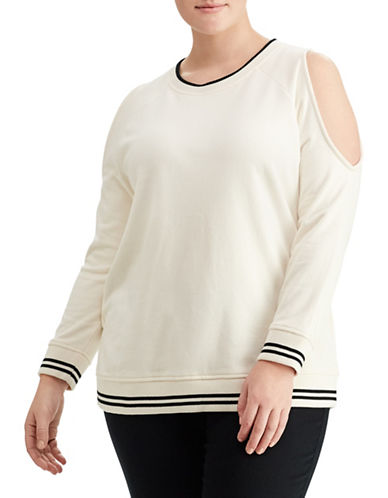 Lauren Ralph Lauren Plus Cutout-Shoulder Sweatshirt-WHITE-3X