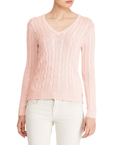 Polo Ralph Lauren Cable-Knit Cotton Sweater-PINK-X-Large