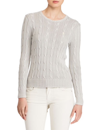 Polo Ralph Lauren Cable-Knit Cotton Sweater-GREY-Large