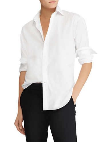 Polo Ralph Lauren Lace-Up Back Boyfriend Shirt-WHITE-2