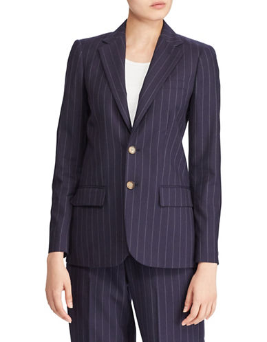 Polo Ralph Lauren Pinstripe Wool Blazer-NAVY-6