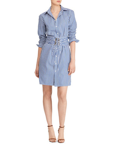 Polo Ralph Lauren Poplin Corset Shirtdress-BLUE-14