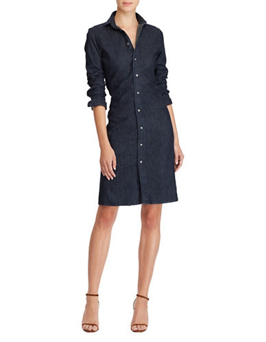 Polo Ralph Lauren Stretch Denim Shirtdress-NAVY-8