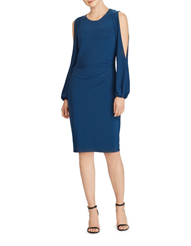 Lauren Ralph Lauren Jersey Cold-Shoulder Sheath Dress-BLUE-8