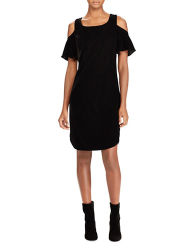 Lauren Ralph Lauren Petite Velvet Cold-Shoulder Shift Dress-BLACK-Petite 14