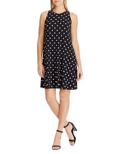 Chaps Polka-Dot Jersey Sheath Dress-BLACK-X-Large
